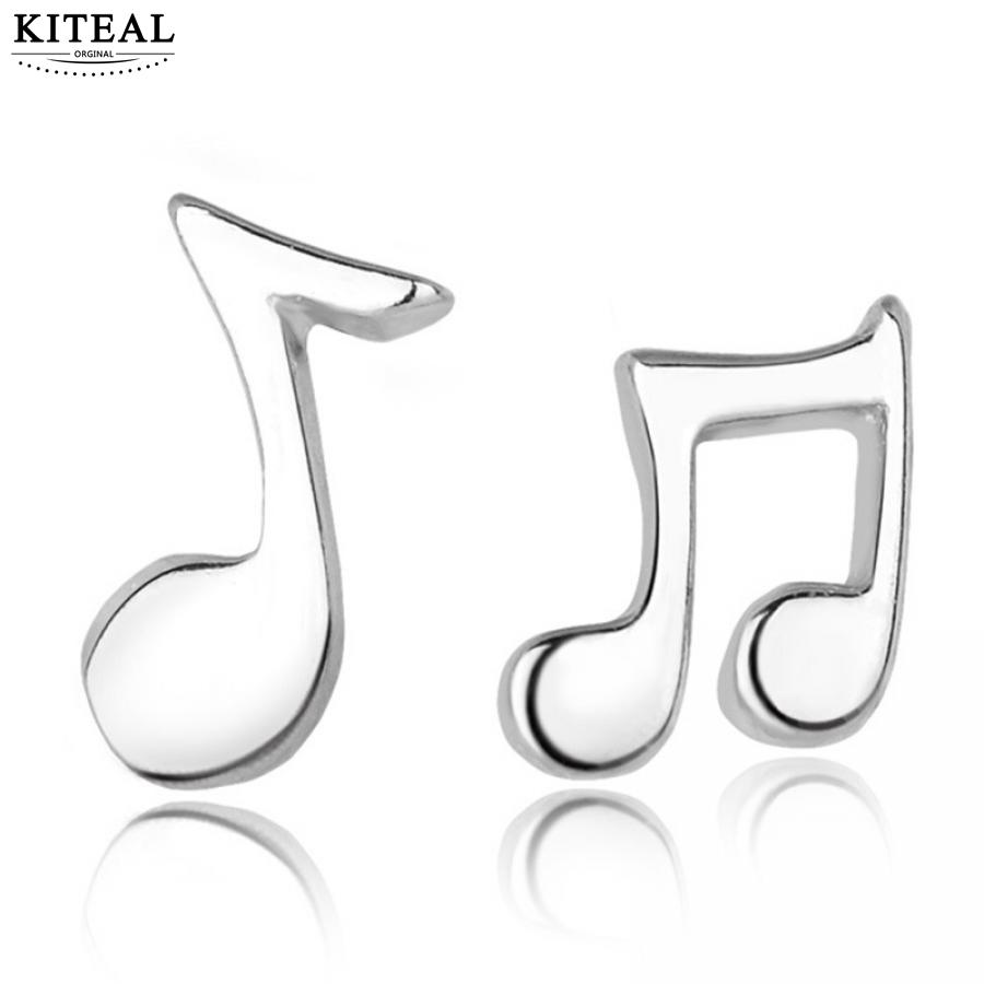 KITEAL 2018 New Fashion Silver Plated Punk Lovely Small Music Notes Stud Earrings for Men Women Jewelry High Quality