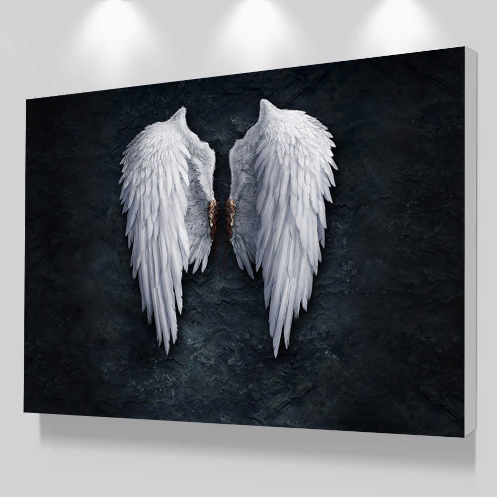 Modern Black White Design Feather Angel Wings Art Print