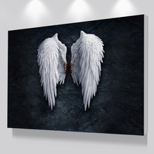 Modern Black White Design Feather Angel Wings Art Print Poster On Canvas Wall Pictures For Living Room Decoration No Frame(China)