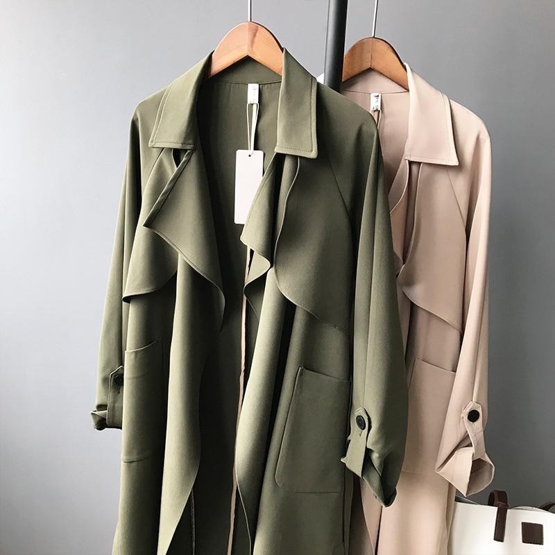 19 Spring Women Long Coat Turn Down Collar Harajuku Women Army Green Trench Coat Casaco Feminino Abrigo Mujer Trench Femme 11