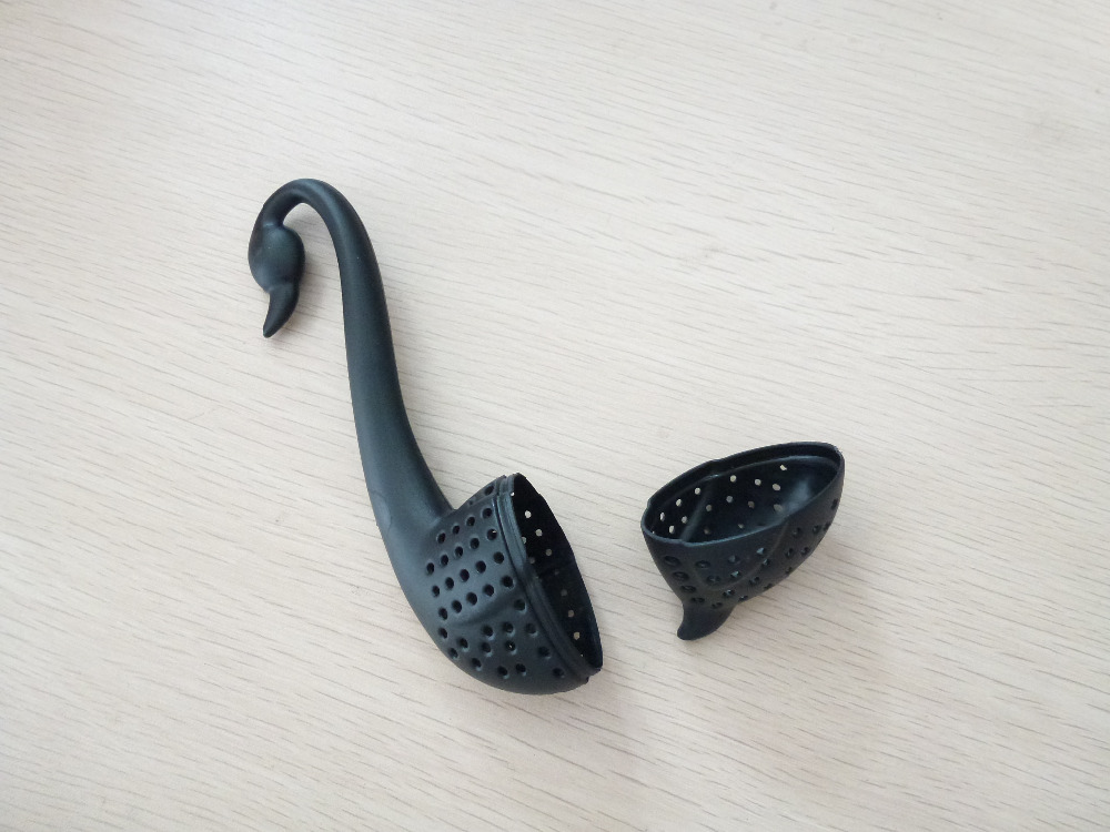Free Shipping 1PCS BLACK Tea Filter Strainer Swan Filter Spoon Sifter HIGH QUALITY  Loose Leaf Strainer Bag Mug Friends Applied