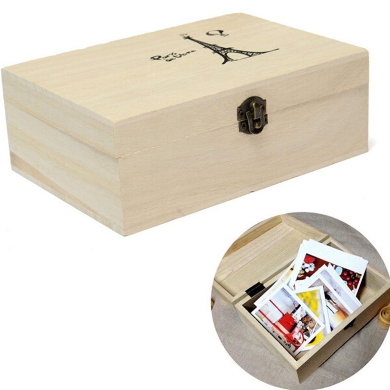 New home storage box natural wooden with lid golden lock for Craft storage boxes with lids
