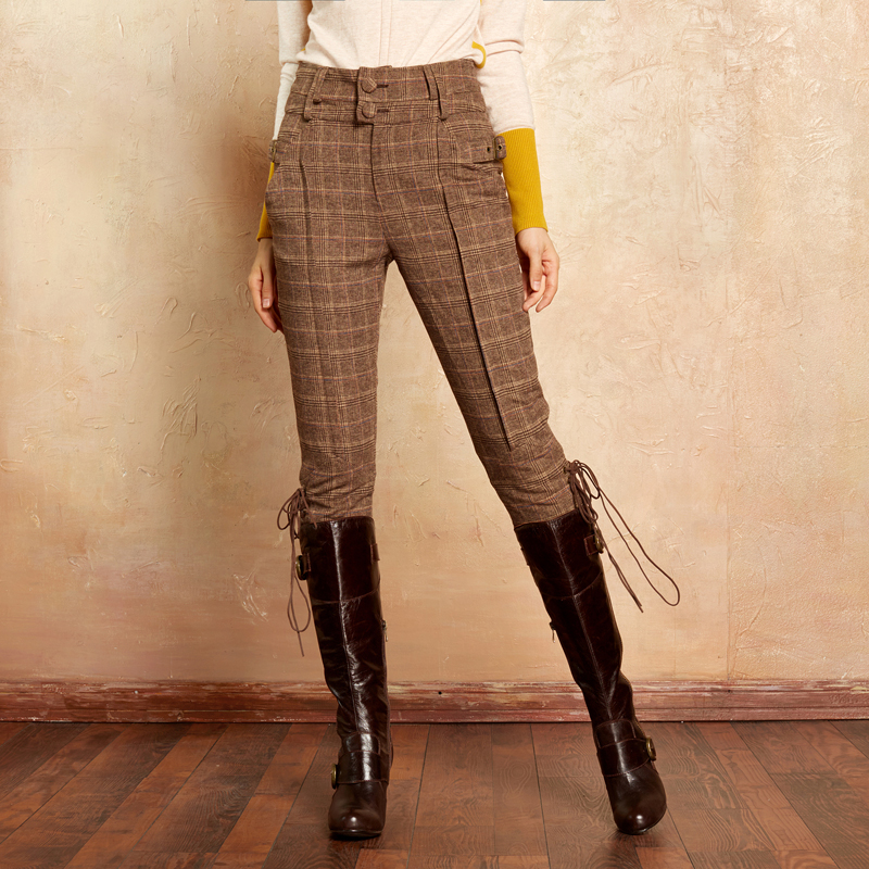 ARTKA Women s Classic Trousers 2018 Autumn Winter Calf Length Pants Women Knight Causal Breeches Plaid