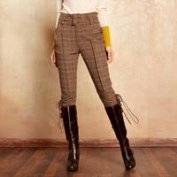 ARTKA Women's Classic Trousers 2018 Autumn & Winter Calf Length Pants Women Knight Causal Breeches Plaid Vintage Pants KA10270Q