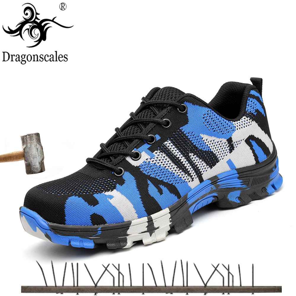 2019 New Men's Safety Shoes Steel Toe Cap Military Work Safety Boots Shoes Men Camouflage Army Puncture Proof Boots Plus Size