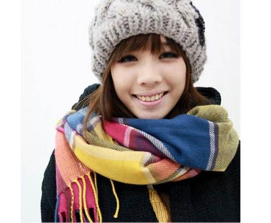 Fashion Women Lady Winter Warm Neck font b Tartan b font Check Shawl Scarf Wrap Stole