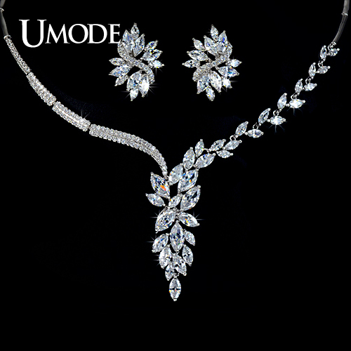 font b UMODE b font Luxury Jewelry Sets Rhodium plated Marquise Cut AAA CZ Flower