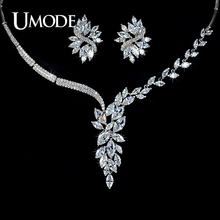 UMODE Luxury Jewelry Sets White Gold Color Marquise Cut AAA CZ Flower Earrings Necklace For Women