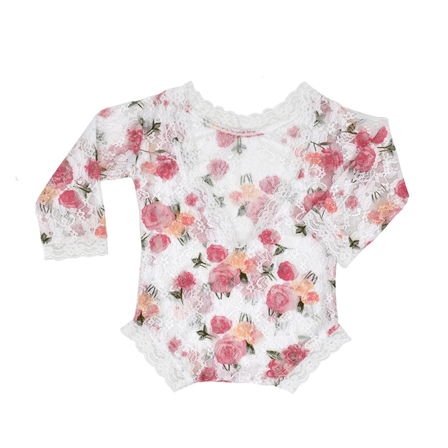 Newborn Photography Props Baby Girl Lace Romper Rose Print Flowers Infants One-piece Infant Photo shoot Accessories New Arrival   Happy Baby Mama