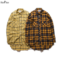 Plaid Hip Hop Shirts Men 2017 Streetwear Front Short Back Long Flannel Curved Hem Mens Shirt Long Sleeve  Justin Bieber