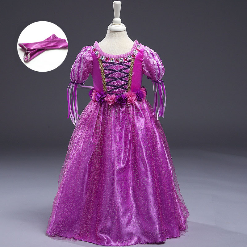 Fantasy Tangled Rapunzel Dress Girls Fancy Dresses Summer Children Clothing Carnival Costume Kids Purple Cartoon Princess Dress girls europe the united states children princess long sleeved purple lace flower dress female costume kids clothing bow purple