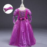 Fantasy Tangled Rapunzel Dress Girls Fancy Dresses Summer Children Clothing Carnival Costume Kids Purple Cartoon Princess