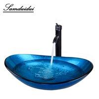 DE Bathroom Washroom Vessel Vanity Bar Ship Washbasin Countertop Tempered Glass Basin Sink Faucet Set Brass