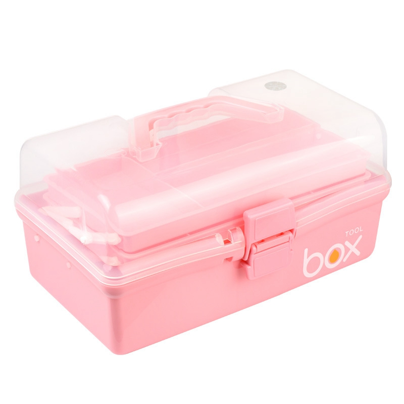 Three-Tier Medicine Box For First Aid Kit Plastic Folding Medical Chest Organizer For Makeup Stationery Storage Boxes(China)
