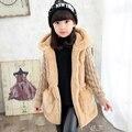 Новый зимой дети одежда новорожденных девочек верхняя одежда плюс бархат утолщение осенью и зимой искусственного средней длины ватные куртки
