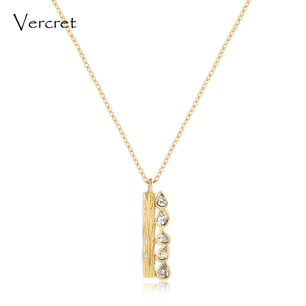 цена на Vercret delicate 18k gold diamond necklace with 925 sterling silver chain necklace handmade women's jewelry gift sp