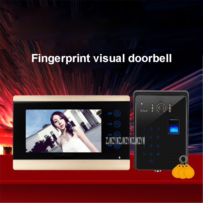 7-inch Screen Fingerprint Password Wired Video Doorbell Intercom Video Door Phone Home Door Video System TK-801C+813C 100-240V7-inch Screen Fingerprint Password Wired Video Doorbell Intercom Video Door Phone Home Door Video System TK-801C+813C 100-240V