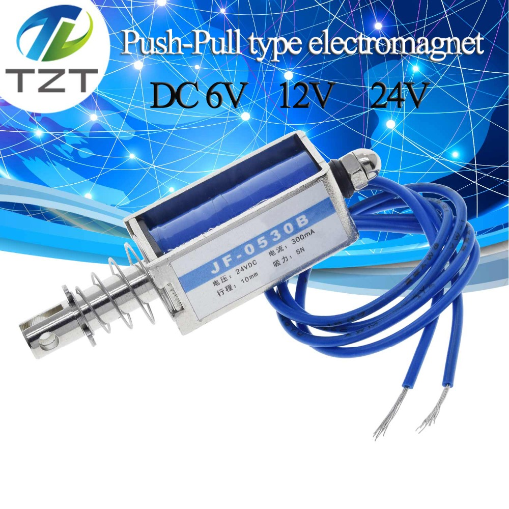 uxcell DC 24V 15N 10mm Pull Push Type Solenoid Electromagnet Open Frame Type Linear Motion JF-0837B