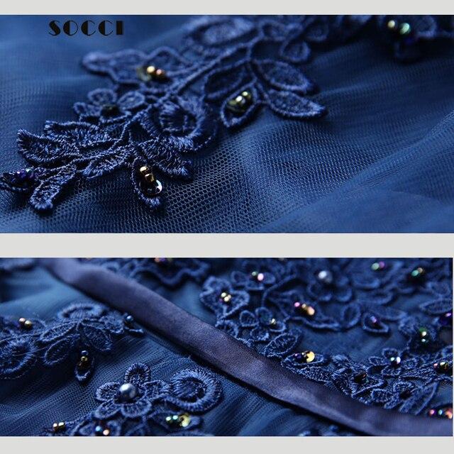 SOCCI Weekend Evening Dress robe de soiree Long V-neck AppliquesTulle Back  Less Prom Robe Elegant Ribbon Belt Wedding Party Gown free shipping  worldwide 42b190db206c