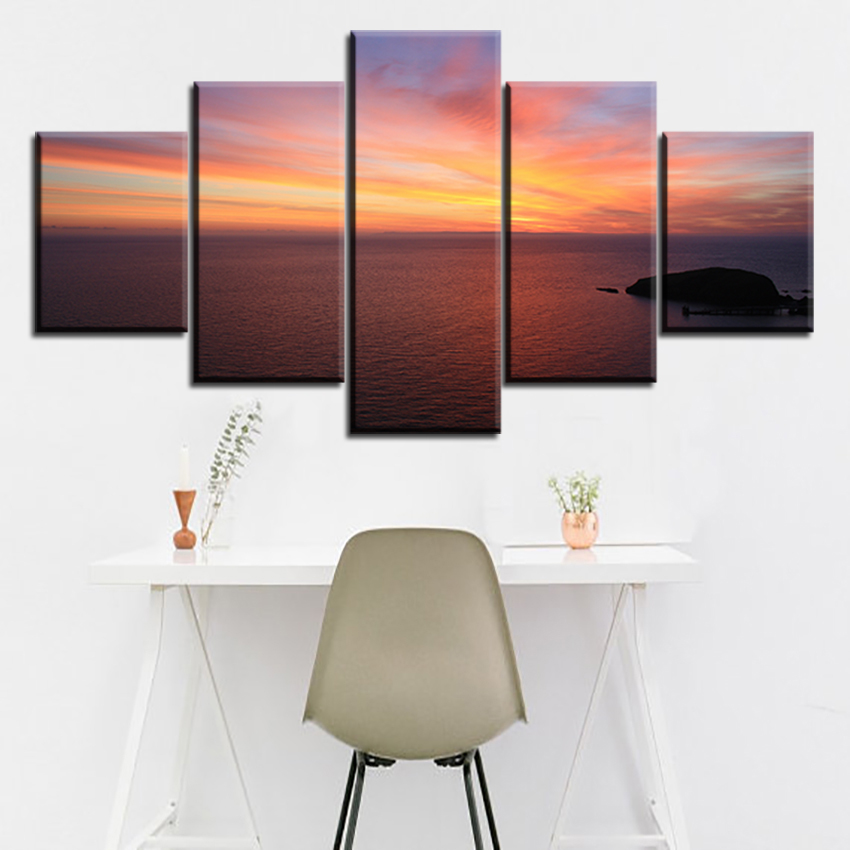 5 pc Set sea-dawn-sunset-cloudy NO FRAME Oil Painting Canvas Prints Wall Art Pictures For Living Room Decorations
