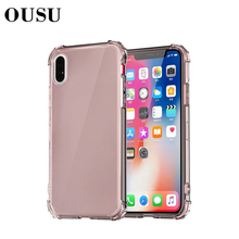 OUSU Airbag Transparent TPU Case For iphone 7 6 8 Anti-knock Soft Full Covers xs max x xr