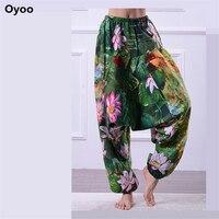 Oyoo المرأة الأزهار طباعة عالية الخصر الحريم السراويل بوهيميا اللوتس اليوغا رياضة ملابس الكتان زائد المعتاد والرقص السراويل