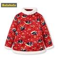 Balabala Kinder Mädchen Gedruckt Padded Jacke mit Abnehmbaren Faux Pelz Kragen und Chinesische Frosch Verschluss Kinder Kleinkind Mädchen Kleidung-in Daunenjacken und Parkas aus Mutter und Kind bei