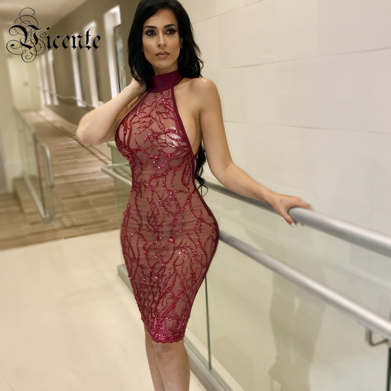 Vicente HOT Fashion Red Wine Sequins Dress Sexy Sleeveless Backless Cross Lace-up Wholesale Celebrity Party Bandage Dress
