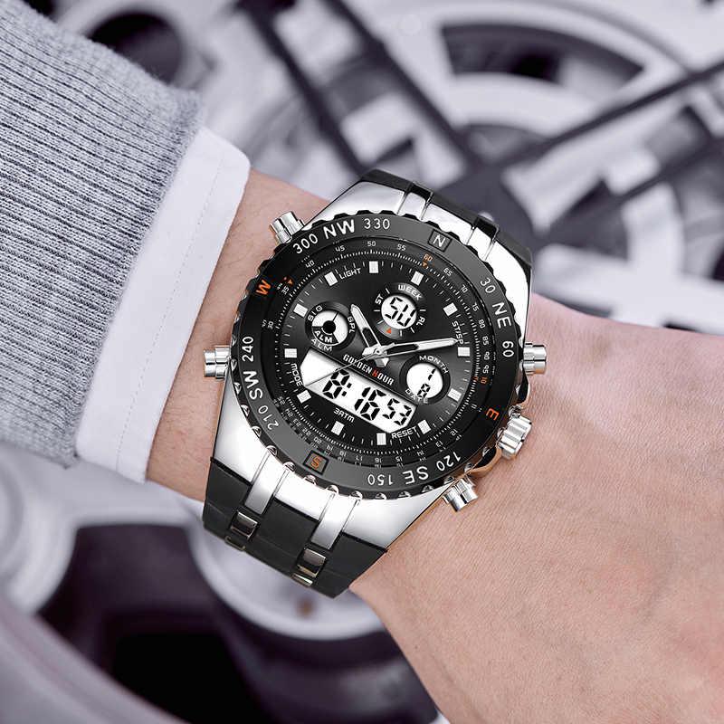 GOLDENHOUR мужские спортивные часы аналогово-цифровые с двойным дисплеем мужские модные уличные военные черные резиновые наручные часы светящиеся часы