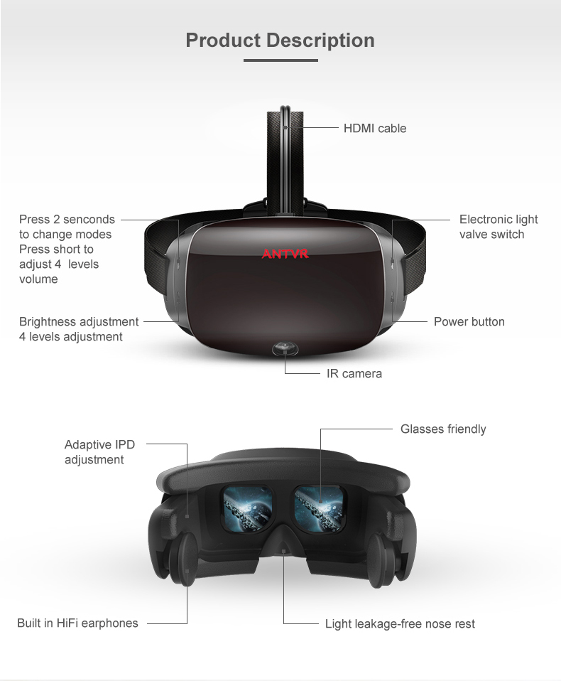 ANTVR 17 New Virtual Reality Glasses Headset for PC Virtual pc Glasses Binocular 110 FOV 2160*10P VR box Immersive 3D VR 5