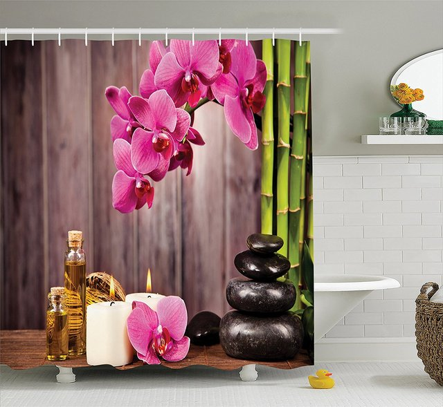 Spa Orchid Flowers Rocks Bamboo Asian Style Aromatherapy Massage Therapy Polyester Fabric Bathroom Shower Curtain