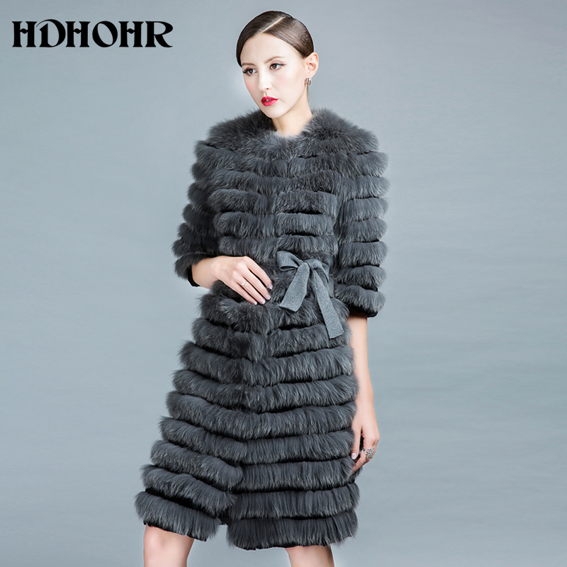 HDHOHR 2018 New WinterWarm Fox Fur Coat Natural Fox Fur Jackets 100% Real Fur Coats  With Belt  Fishion Luxury Women Clothing