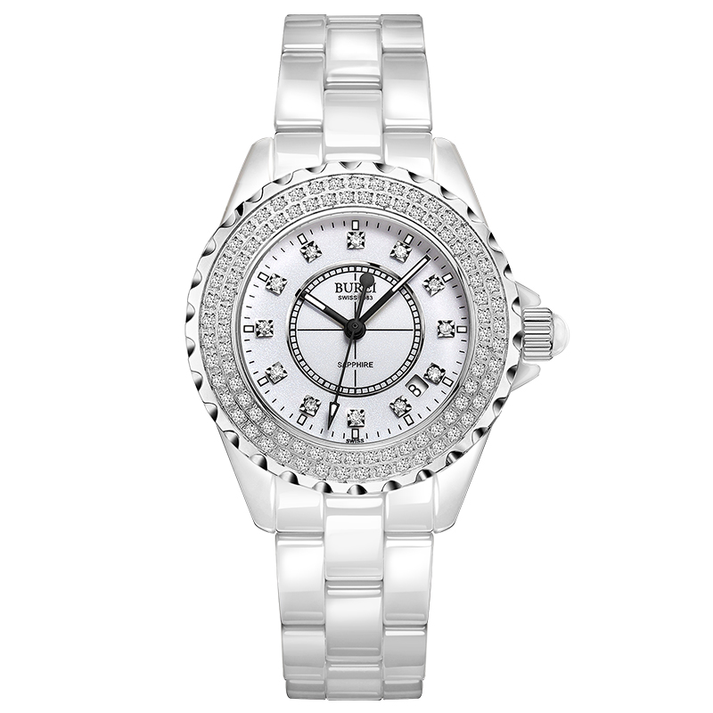 BUREI 18003 Switzerland watch women luxury brand J12 series Austria diamond Ceramic calendar Double white relogio feminino цена