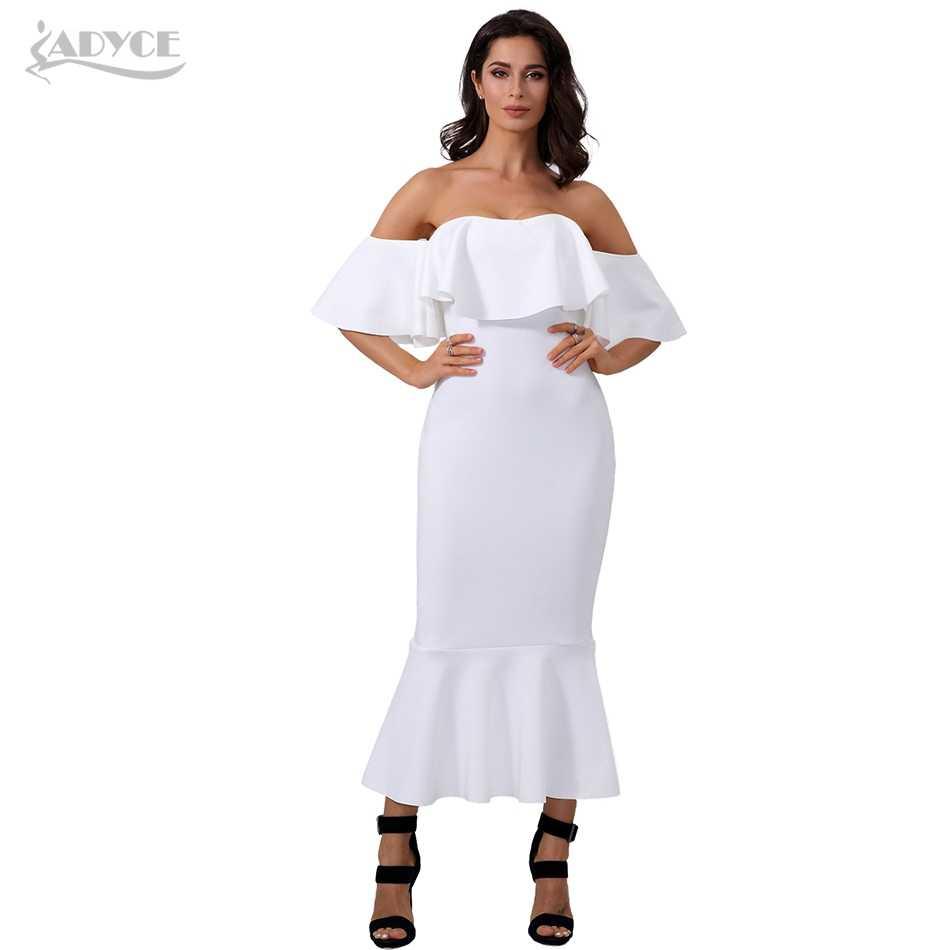 Adyce 2019 חדש קיץ לבן אלגנטי Bodycon מועדון שמלת נשים Vestidos סקסי קצר פרפר שרוול ראפלס סלבריטאים מפלגה שמלה