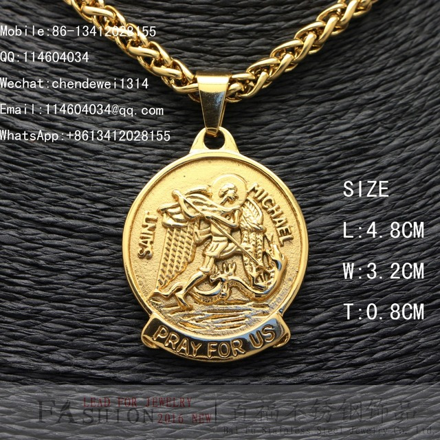 Baifu mens jewelry stainless steel round gold saint michael pendant baifu mens jewelry stainless steel round gold saint michael pendantjust pendant just pendant mozeypictures Image collections