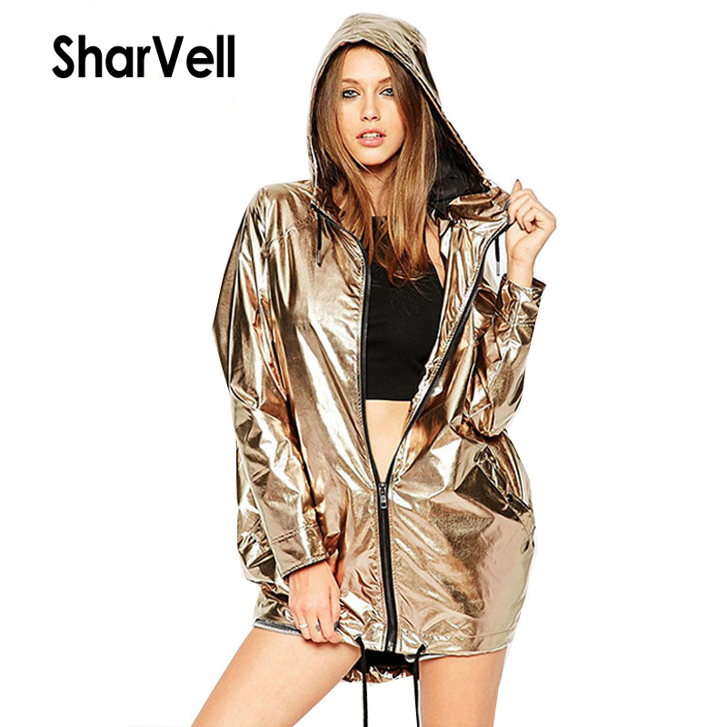 SharVell W17011 women spring   jacket   adjustable Lace Up Hooded Shiny fashion   basic     jackets   Zipper casual loose coat bomb outwear
