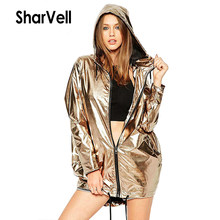 SharVell W17011 vrouwen lente jas verstelbare Lace Up Hooded Glanzend mode basic jassen Rits casual losse jas bom uitloper(China)