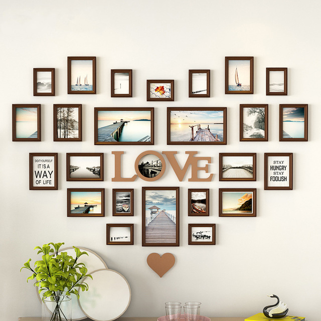 Modern Style Creative Heart Shape Photo Frames For Living Room Hanging Wall Picture Frame 6 Colors Romantic Decoration 25pcs/set