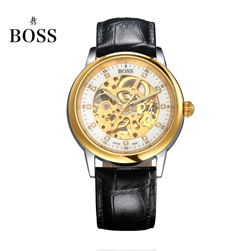 BOSS Germany watches men luxury brand retro skeleton hollow diamond gilded automatic self- wind mechanical watch Leather belt men s luxury skeleton stainless steel retro automatic mechanical watch hollow engraving self wind relogio masculinos hot