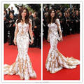 Najwa Karam Dress Cannes V-Neck Long Sleeves Backless Mermaid Evening Dresses Celebrity Dresses ECN001