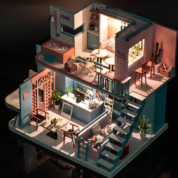 Doll House Furniture DIY Miniature 3D Model Doll Houses Wooden Miniature Dollhouse Assembly Toys for Children Gift Pink Coffee marvel universe hero pa change peter jackson s king wolf joint diy do model doll goods of for display rather for toys gift