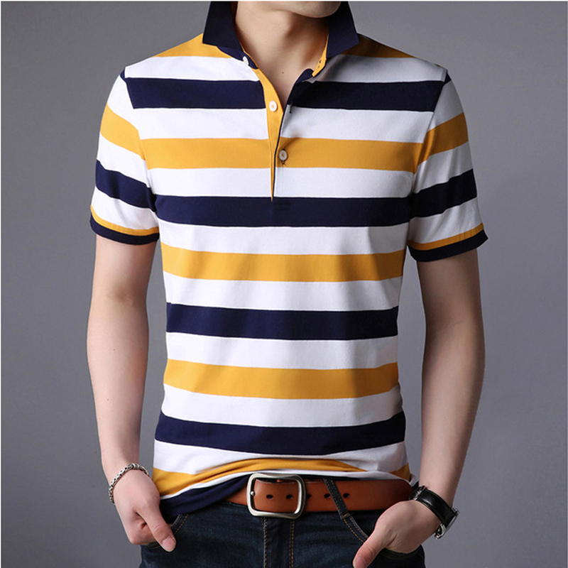 2019 Summer Short Sleeves High Quality Striped   Polo   Shirts For Men Breathable