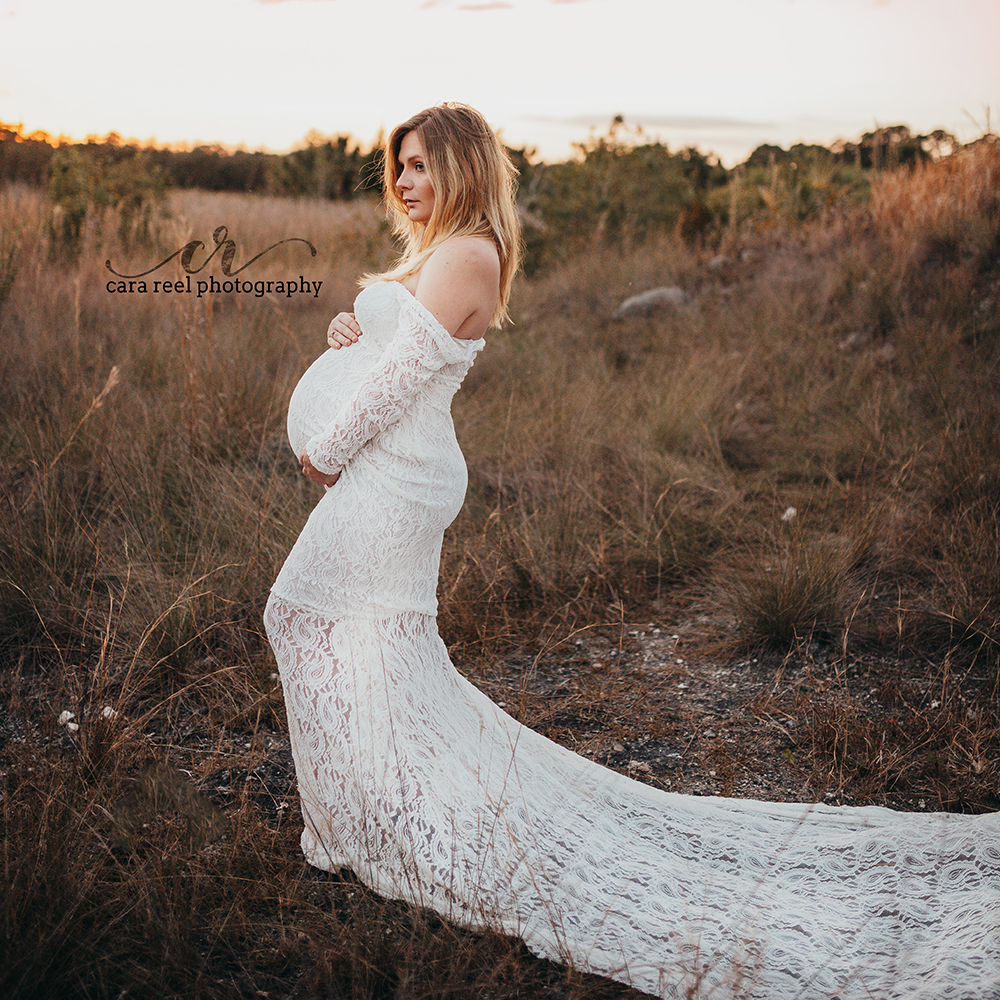 Stretch Lace Maternity Dress Photography Props Maxi Long Sleeves Dress Off The Shoulder Photo Shoot White Pink Pregnant Dresses
