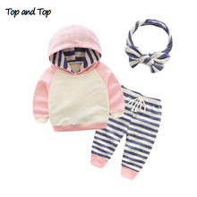 Top and Top Winter Cotton Baby Boys Girls Clothes Sets Striped Hooded Long Sleeve 3Pcs/set Newborn Casual Outfits(China)