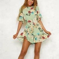 Summer Dress 2018 Women Flower Print Mini Dress Tropical Beach Dress Casual SHORT Sleeve Lady Chiffon