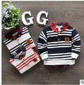 In the spring of 2016 new children long fleece Children in the boy's shirt collar render unlined upper garment Pure cotton strip
