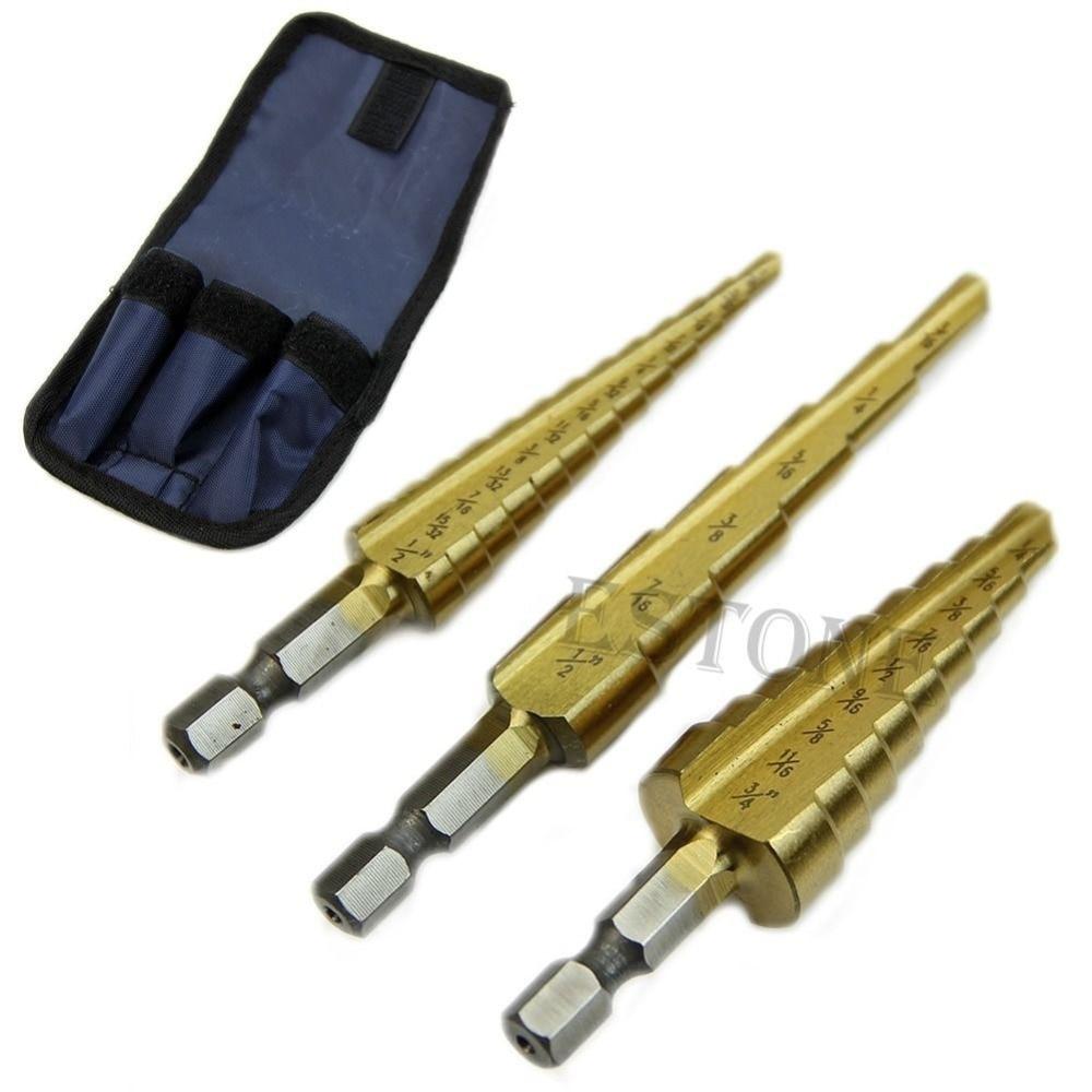 3Pcs/set Steel Titanium Coated Step Drill Bit Quick-change 1/4 Hex Shank g 3pcs set quick change hex shank larger titanium coated m2 tool step drill bit set 71960 t