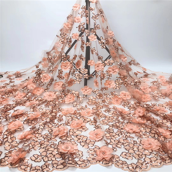 Tollola Peach Sequins French Lace Fabrics Latest Elegant 3d Appliques Tulle Mesh Lace Fabric With Beads Nigerian Lace 5yards