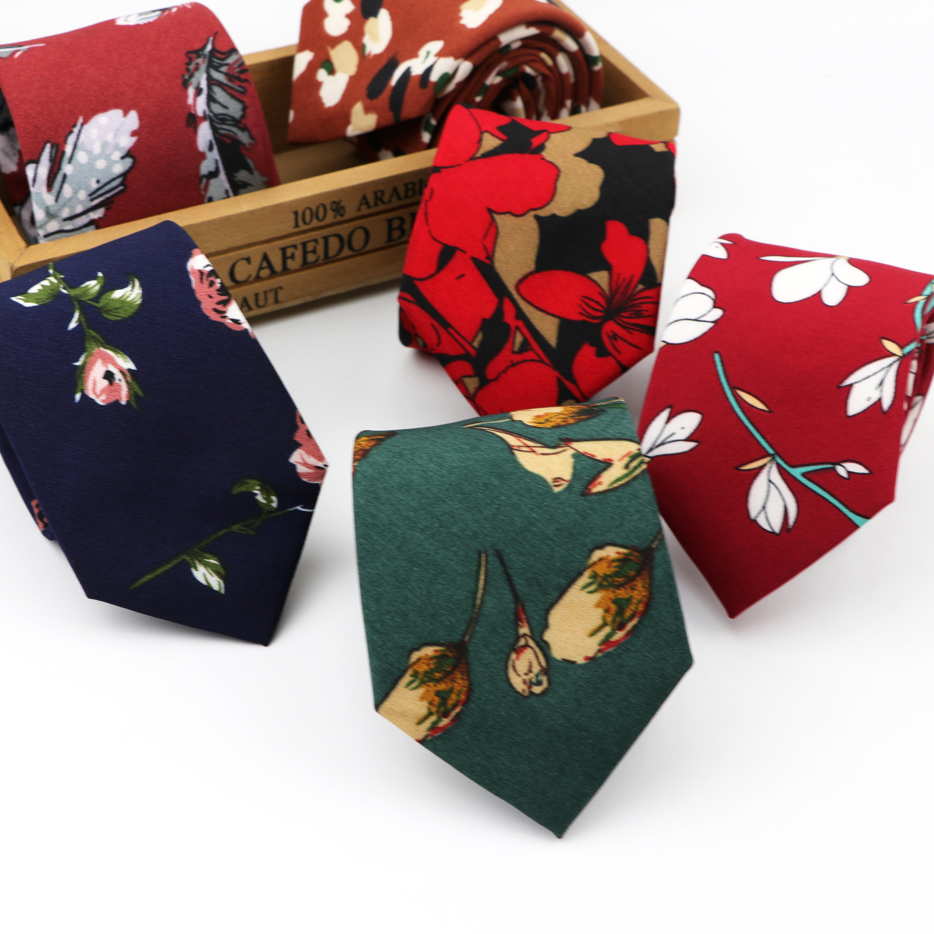 Chiffon Flower Tie Classical Colorful Floral Polyester Necktie Lovely Fashion Mens 7cm Width Neckties Designer Handmade Ties