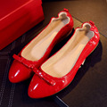 US5-9 Real Leather Women Comfort Pointy Toe SLIP-ON Loafer Bow-knot Ballet Flats Pregnant Skid Shoes